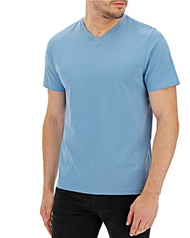 Mid Blue V-Neck T-shirt Long