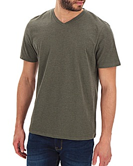 Khaki Marl V-Neck T-shirt Long