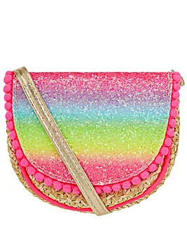 Accessorize Rainbow Glitter Straw Bag