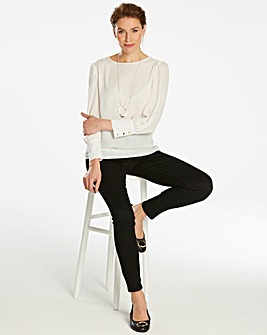 Ivory Deep Cuff Long Sleeve Blouse