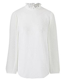Ivory Pleated Sleeve Blouse