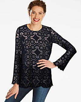 Navy Lace Top With Soft Fluted Sleeve