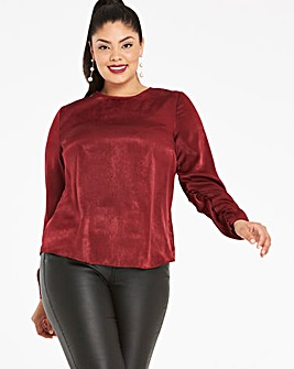 Oxblood Washed Satin Ruched Shell Top