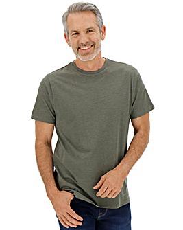 Khaki Marl Crew Neck T-shirt Long
