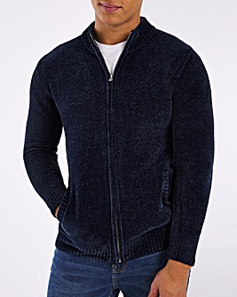Denim Blue Chenille Zip Cardigan