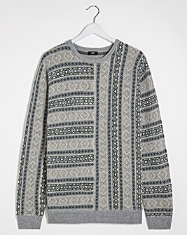 Grey Panelled Fairisle Jumper