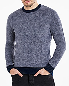 Navy Fluffy Recycled Knit Jumper Long