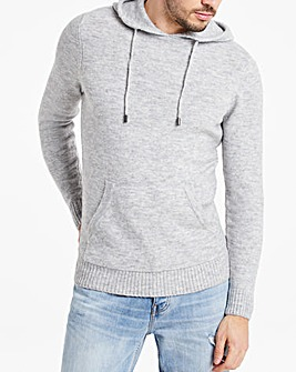 Grey Fluffy Recycled Knit Hoodie Long