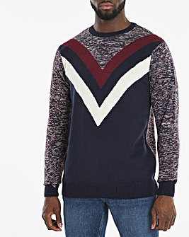 Navy Chevron Crew Neck Jumper Long