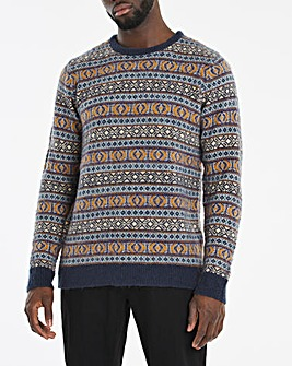 Blue Fairisle Crew Neck Jumper