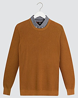Brown Woven Collar Jumper