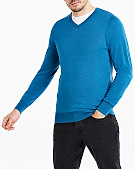 Teal Merino Wool V Neck Jumper