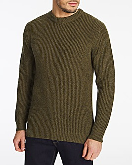 Khaki Crew Neck Jumper Long