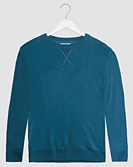 Denim Blue Crew Neck Cotton Jumper Long