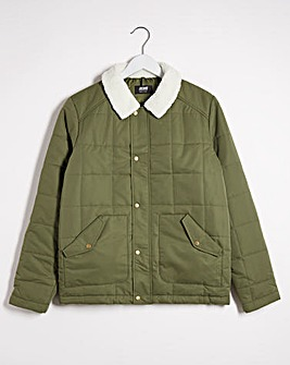 Olive Borg Collar Quilted Jacket