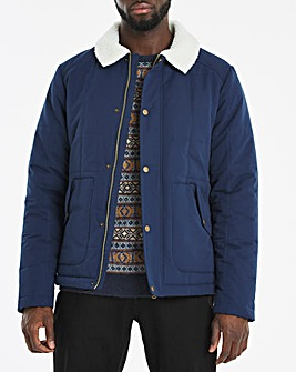 Blue Borg Collar Quilted Jacket