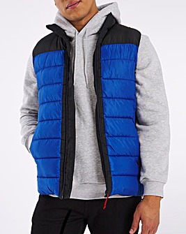Black/Blue Recycled Wadding Padded Gilet