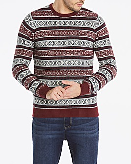 Navy/Plum Fairisle Crew Neck Jumper