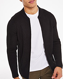 Black Chunky Zipped Bomber