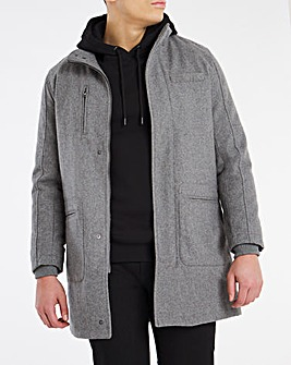 Grey Funnel Neck Coat