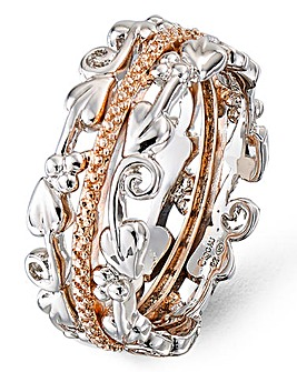 Clogau Sterling Silver & 9 Carat Rose Gold and Diamond Tree of Life Am Byth Ring