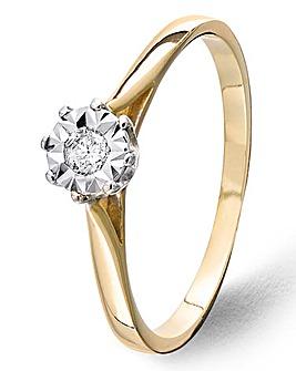 9ct Gold Diamond Illusion Ring