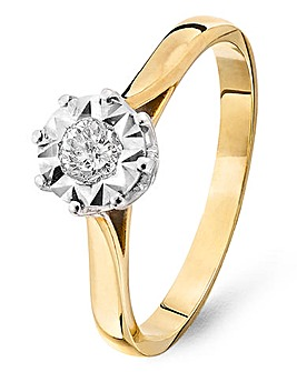 9ct Gold Diamond Illusion Ring