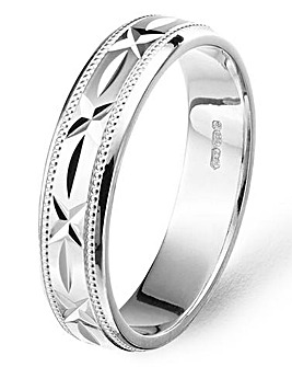 Argentium Silver 5mm Mens Diamond Cut Patterned Wedding Band
