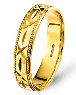 Argentium Gold-plated Silver 5mm Mens Diamond Cut Patterned Wedding Band