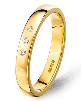 9ct Gold Plated Argentium Silver 3 Diamonds Set 3mm Personalised Wedding Band
