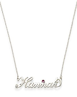 "Sterling Silver Nameplate 18"" Chain Set With Crystal Birthstone"