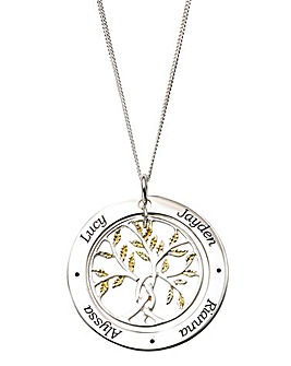 Personalised Gold Plated Leaves Family Tree Pendant On An 18in Curb Chain