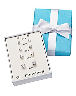 Five Piece Sterling Silver Cubic Zirconia Solitaire Earring Set