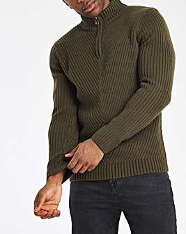 Khaki Zip Neck Jumper