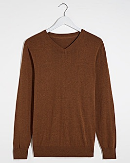 Tan V-Neck Cotton Jumper Long