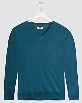 Denim Blue V-Neck Cotton Jumper Long