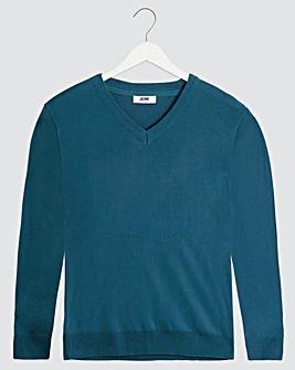 Denim Blue V-Neck Cotton Jumper Long