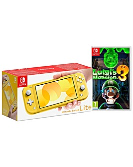 Switch Lite Yellow and Luigis Mansion 3