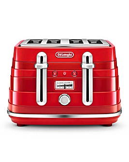 Delonghi Avvolta 4 Slice Red Toaster