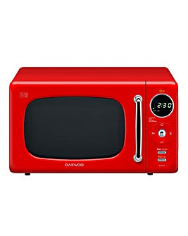 Daewoo 800W 20 Litre Retro Red Microwave