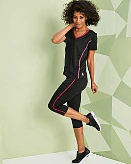 Contrast Piped Sports Capri Legging