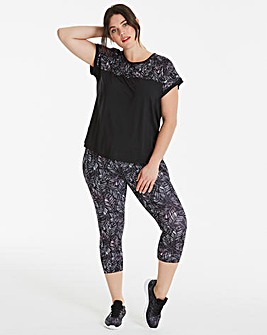 Sports Mono Print Capri Legging