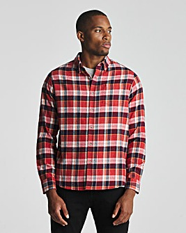 Red Long Sleeve Check Flannel Shirt