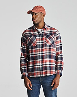 Orange Long Sleeve Check Flannel Shirt