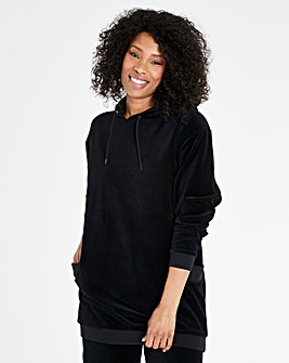 VELOUR LONGLINE HOODIE WITH LONG SLEEVES
