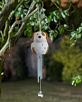 Ceramic Dog Solar Windchime