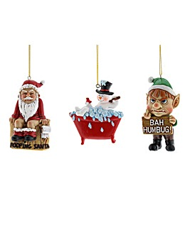 Set of 3 Naughty Tree Decs