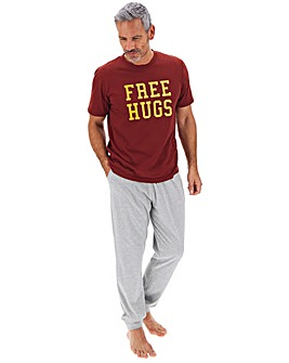 Wine/Grey Free Hugs Cuffed Pyjama Set