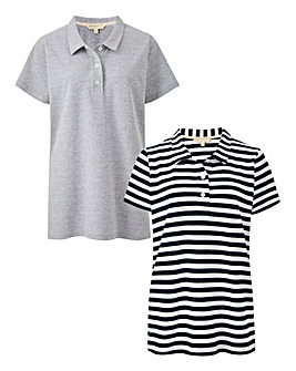 Pack of 2 Grey/ Stripe Polos