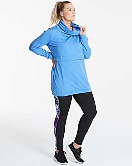 Zip Pocket Hoodie With Slouch Neck